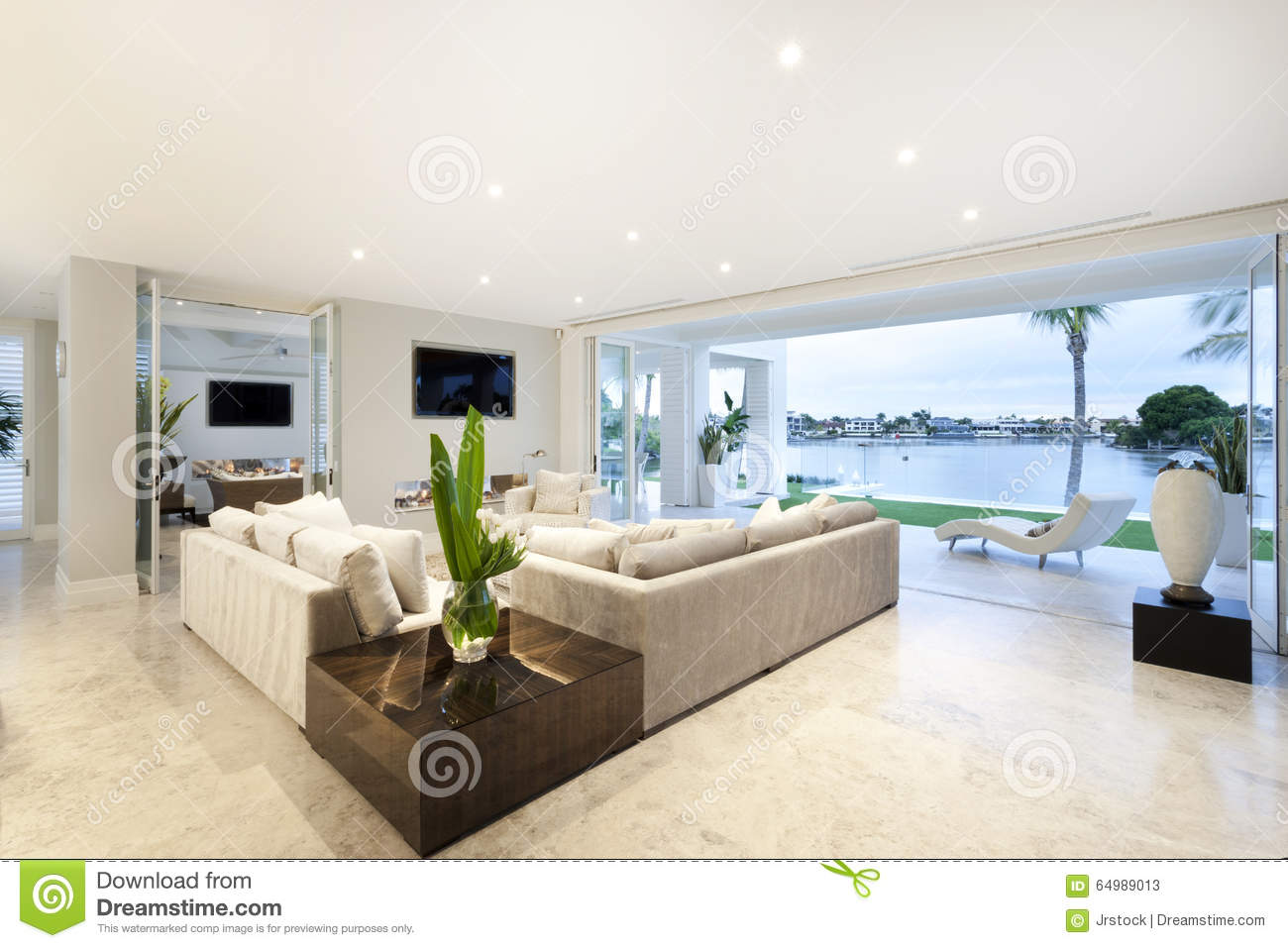 Beau Salon Beautiful Living Room Open To A Yard Stock Image Image Of