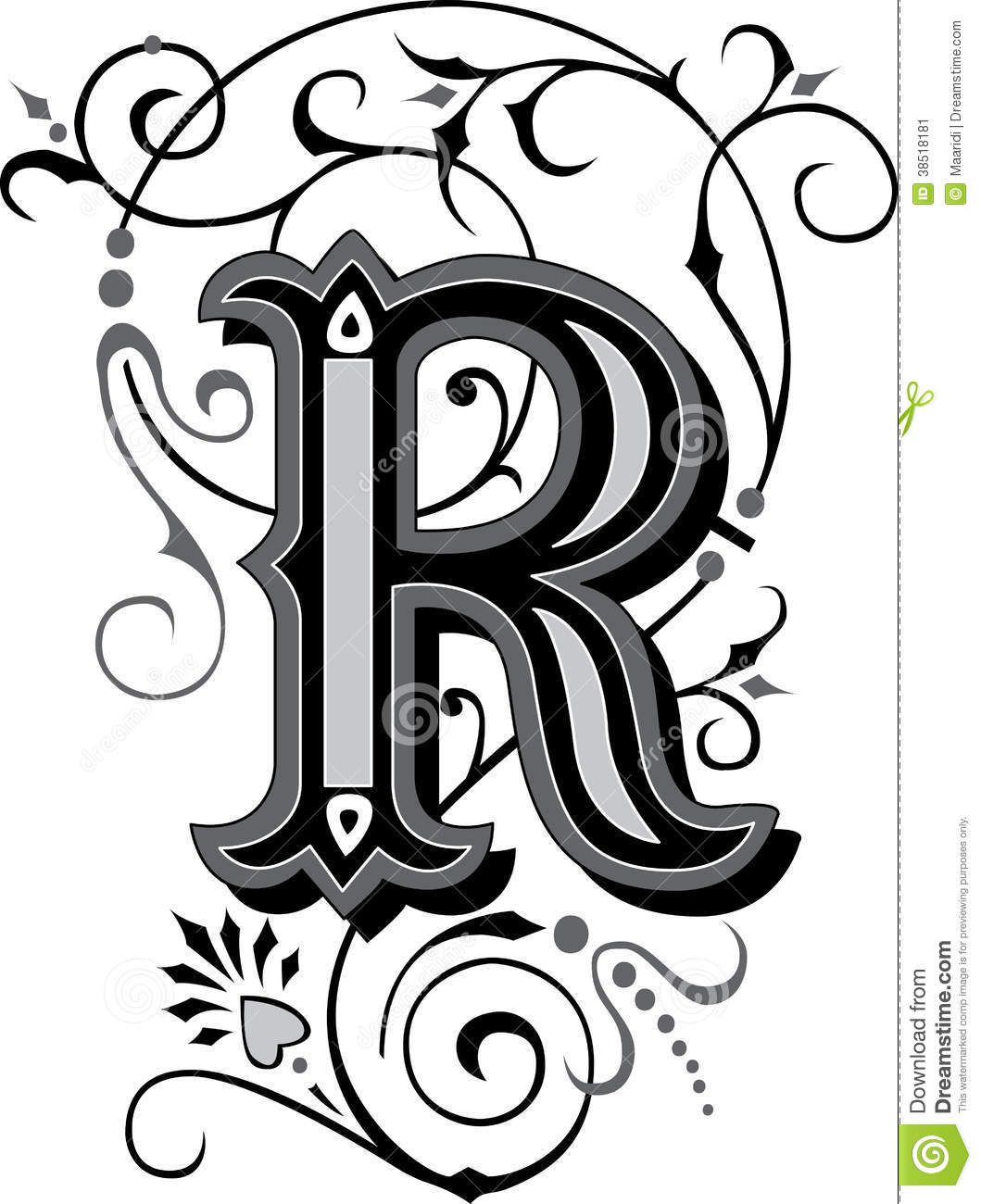 garnished gothic style font letter y stock vector