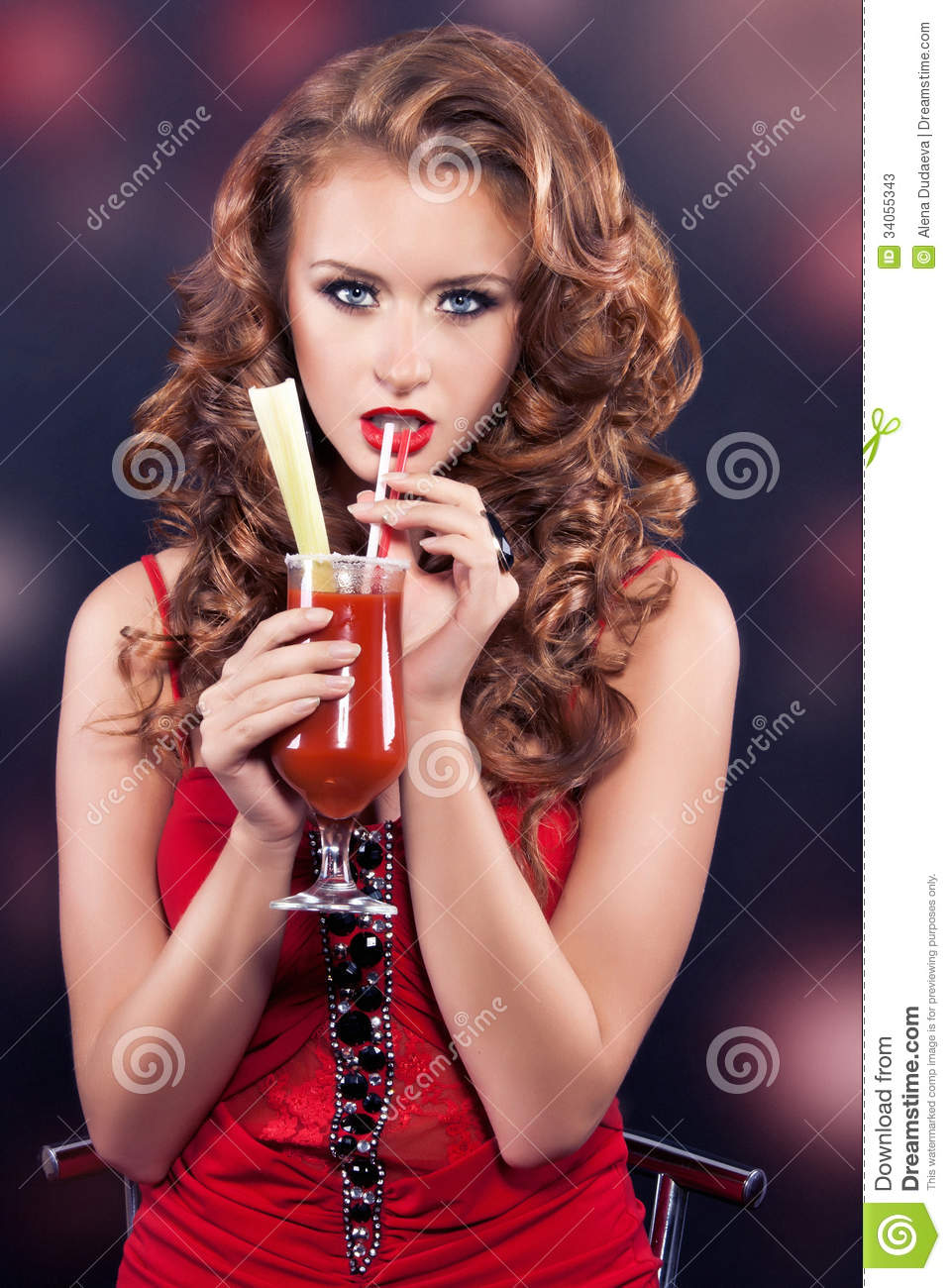 Cute Wallpapers For Adults Beautiful Red Haired Girl In A Red Cocktail Dress Stock