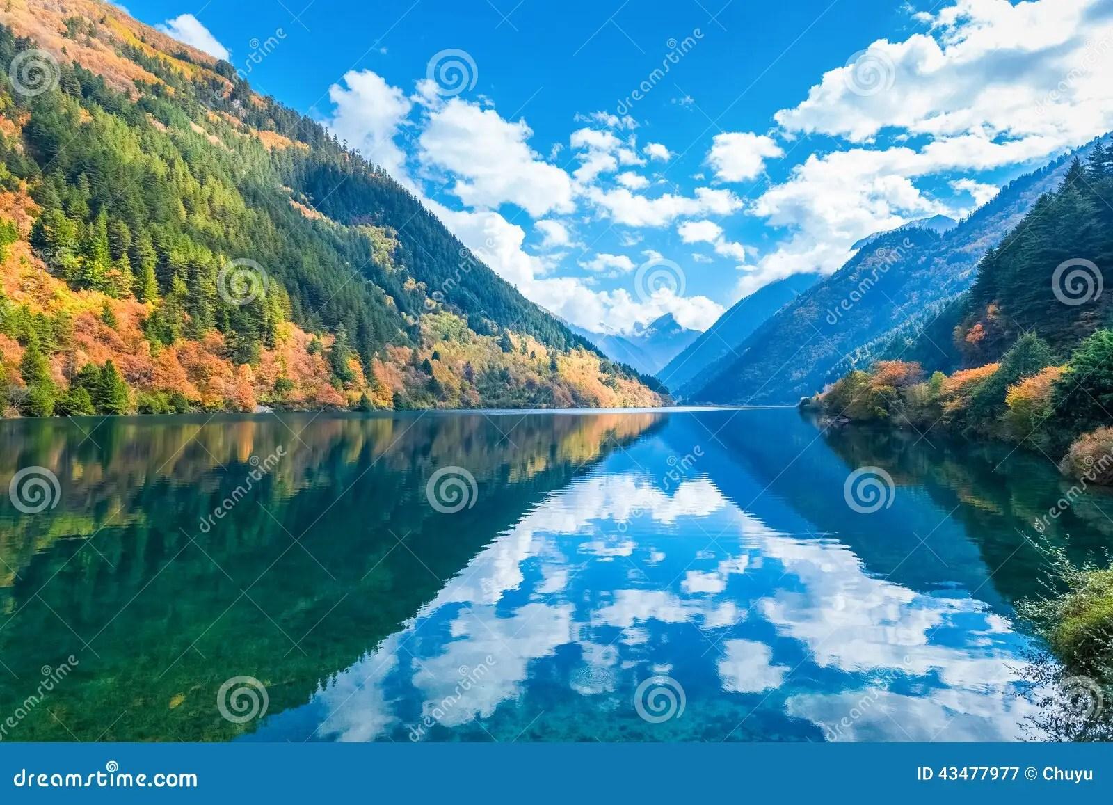Fall Lake Wallpaper Beautiful Rhino Lake In Autumn Jiuzhaigou Stock Image
