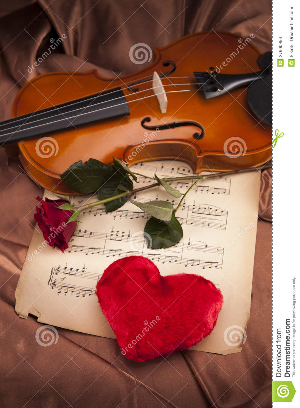 3d Love Red Heart Wallpaper Beautiful Rose Heart And Violin Royalty Free Stock Image