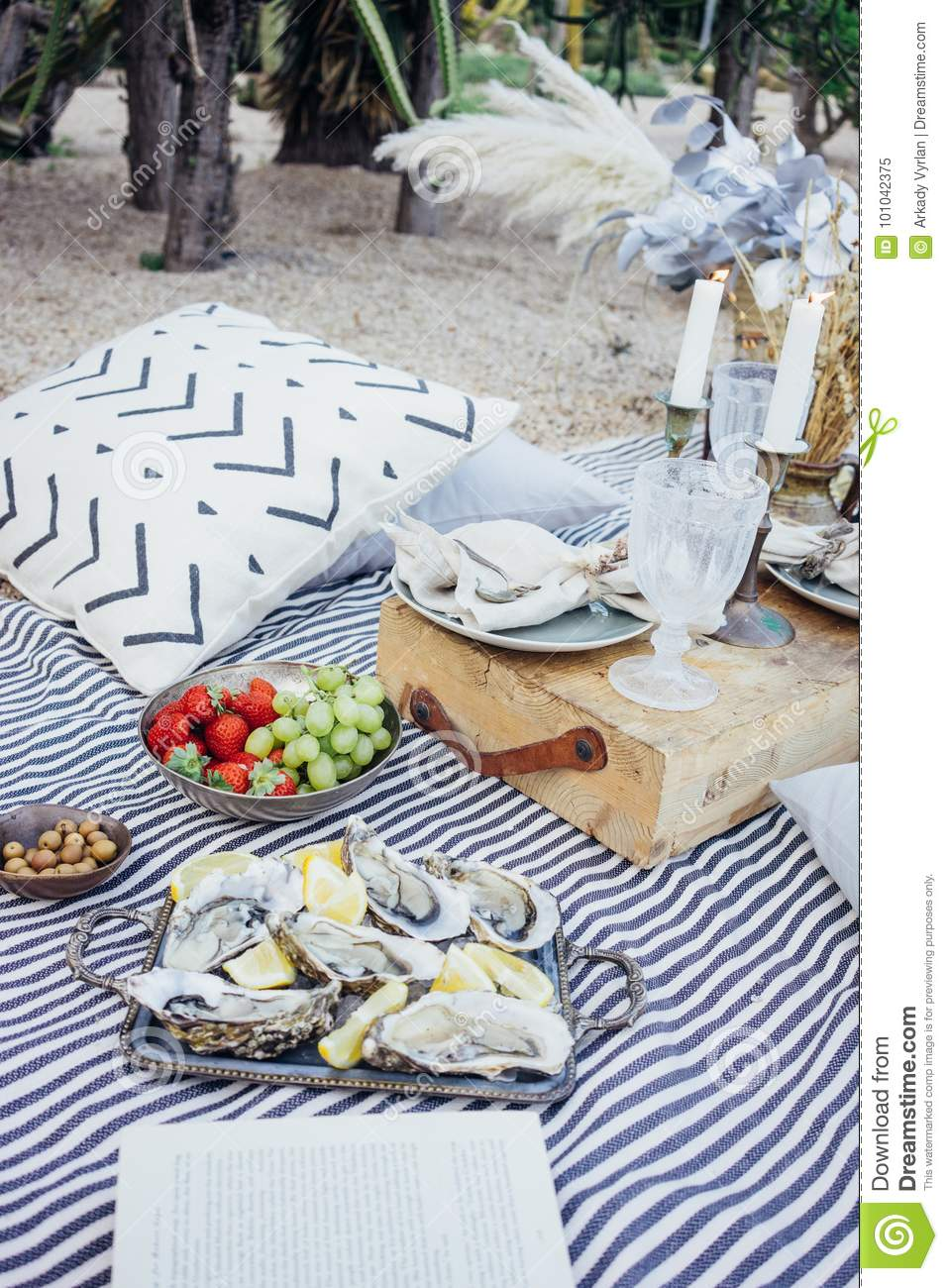 Picnic Decor Beautiful Setup Picnic Table Stock Image Image Of Decor