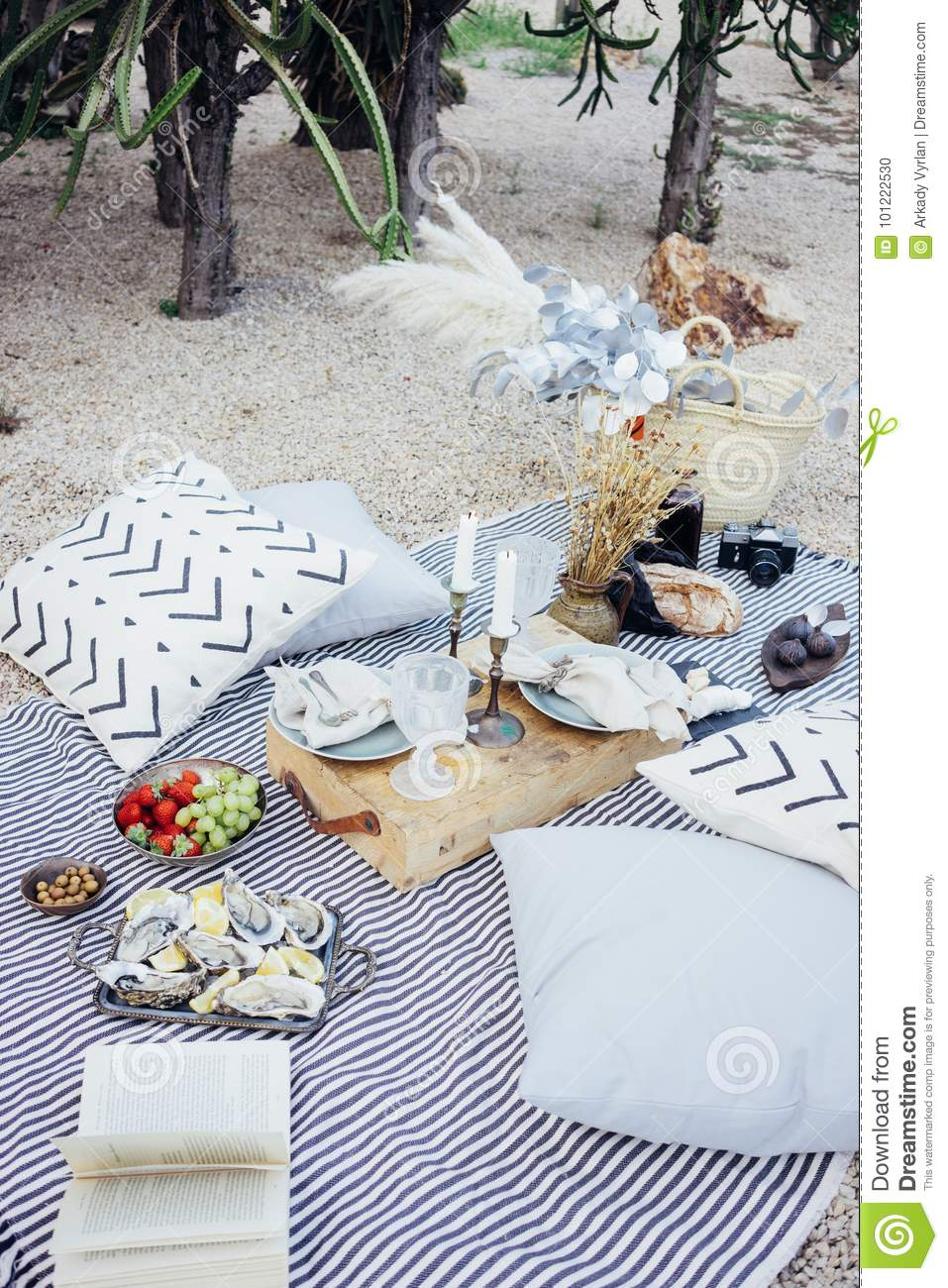 Picnic Decor Beautiful Setup Picnic Table Stock Photo Image Of Candle Decor