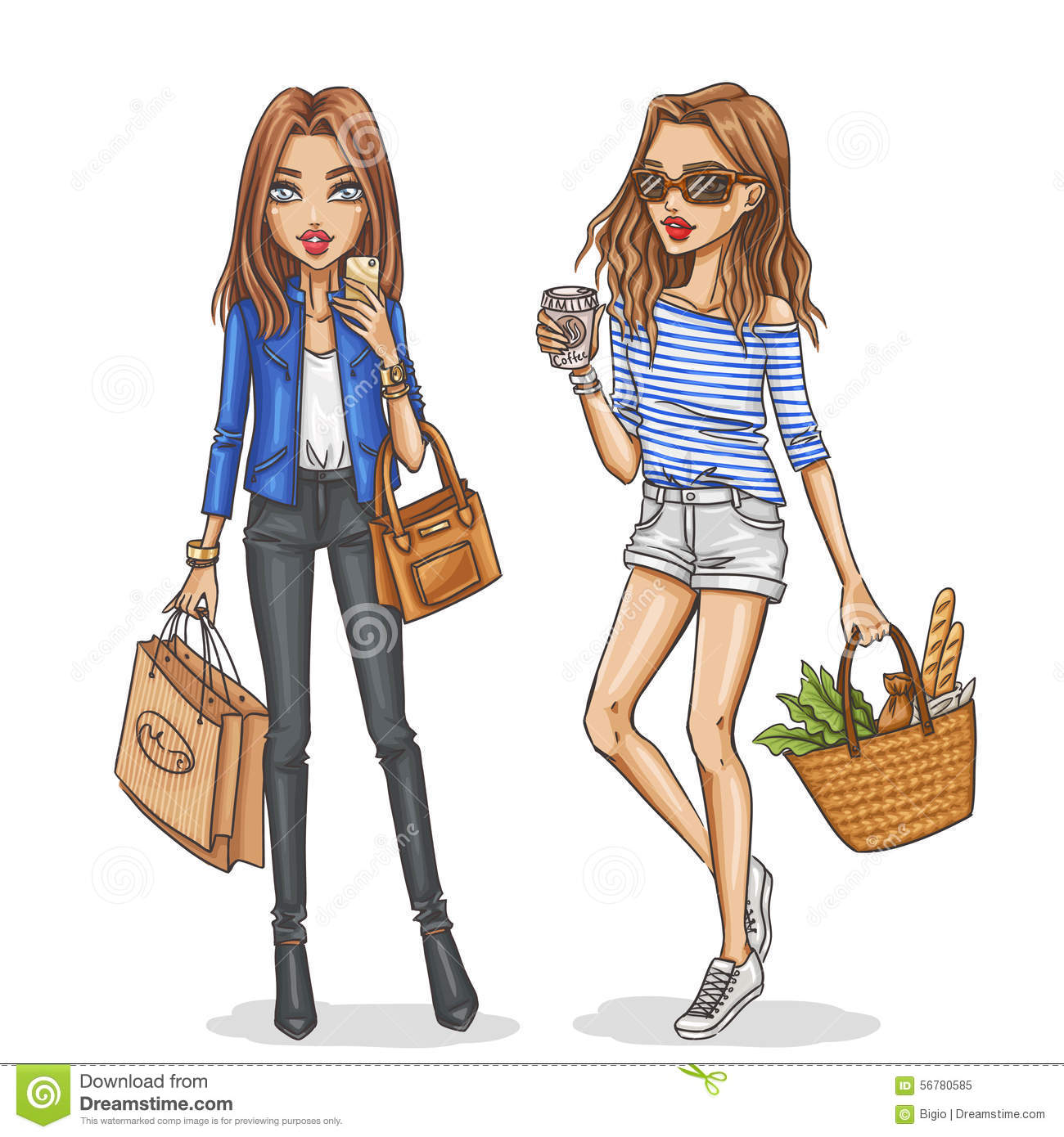 Cute Wallpapers For Bff For 5 Beautiful And Stylish Fashion Girls Stock Vector Image