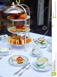 Beautiful Table Setting For High Tea Ceremony Stock Image ...