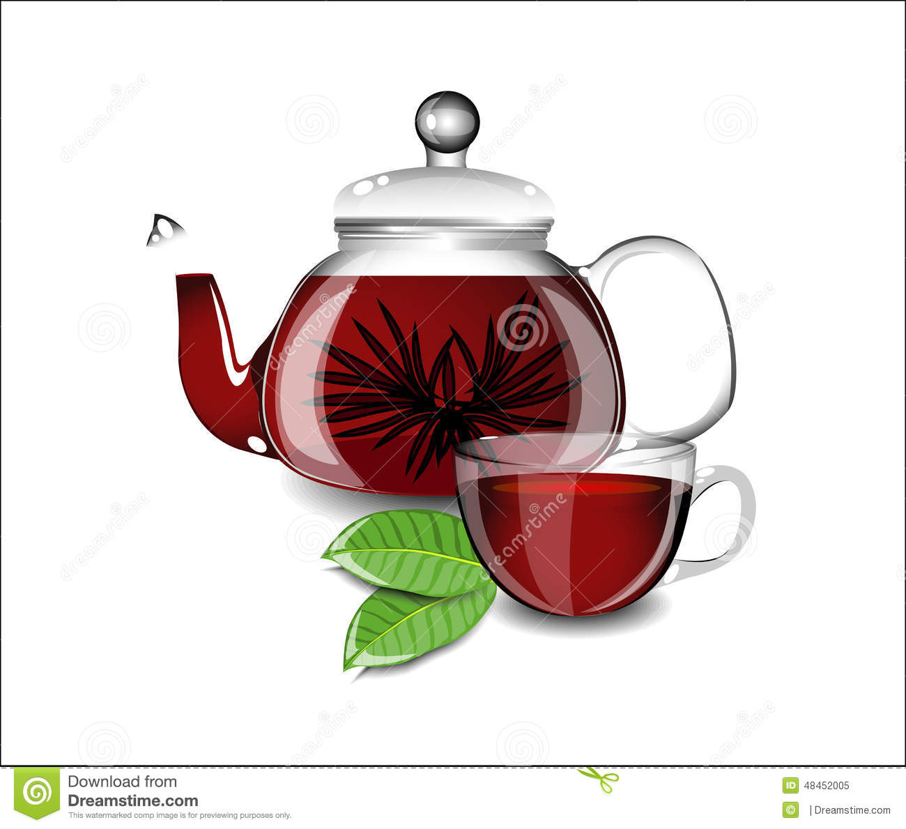 Beautiful Teapot Beautiful Teapot And Cup With Black Tea Stock Vector