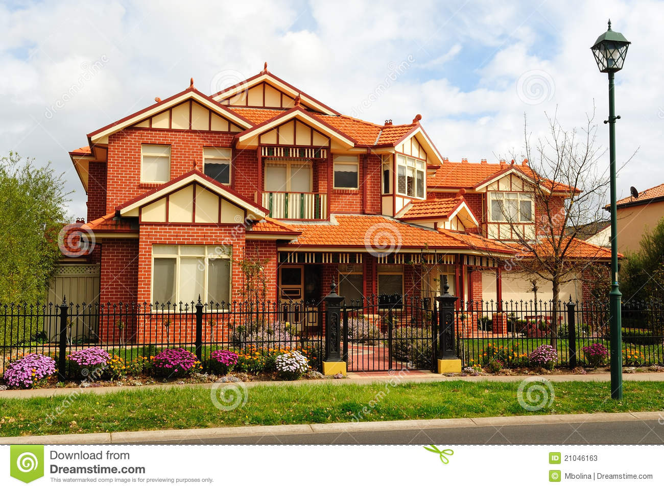 Beautiful Two Story House Beautiful Two Story Brick Home Stock Image Image Of