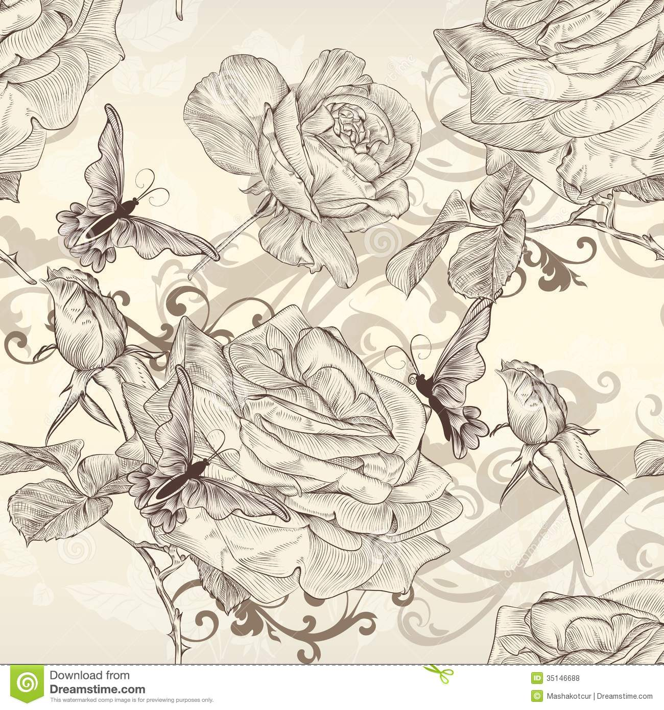 Vintage Style Wallpaper Beautiful Vector Seamless Wallpaper With Roses In Vintage