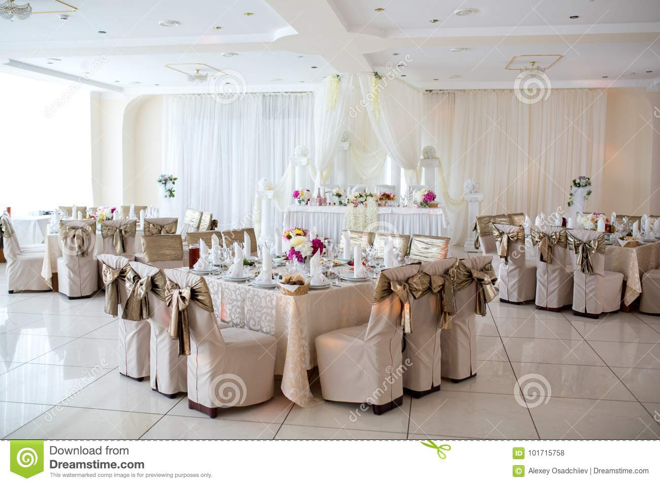 Draping Curtains Big Wedding Room Stock Photo Image Of Decoration Event 101715758