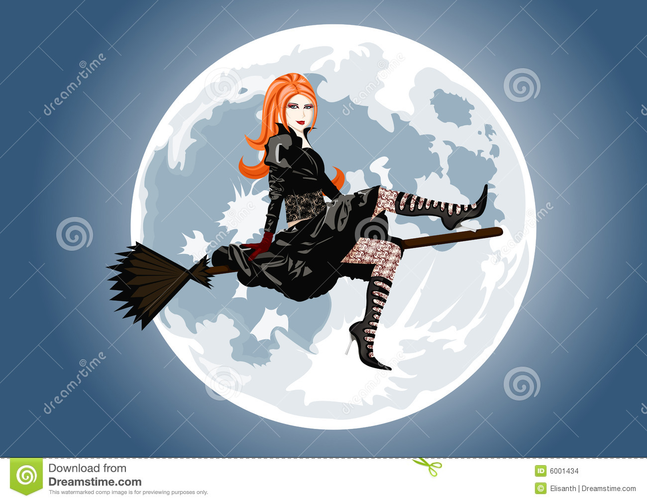 Full Moon Clip Art Black And White Beautiful Witch Sitting On Broom Stock Images - Image: 6001434