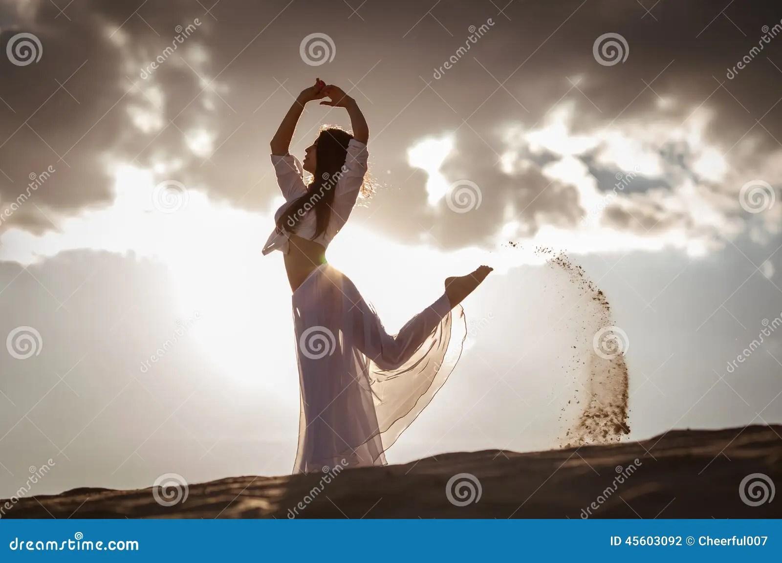 Om 3d Wallpaper Download Beautiful Woman Dancing At Sunrise Stock Photo Image