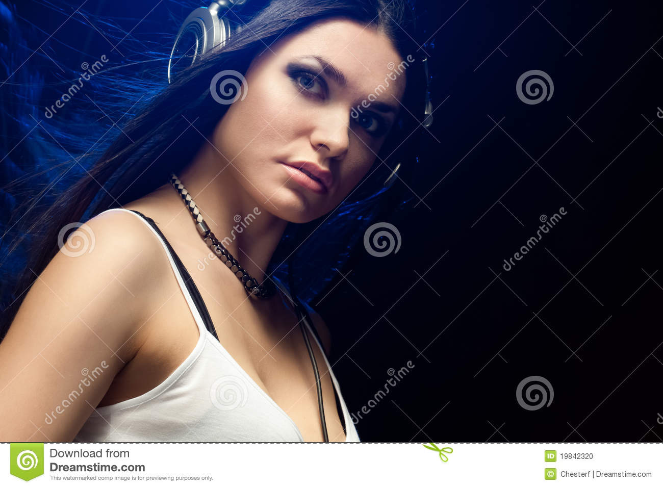 Beautiful Headphones Beautiful Woman Dj Wearing Headphones Stock Photo Image