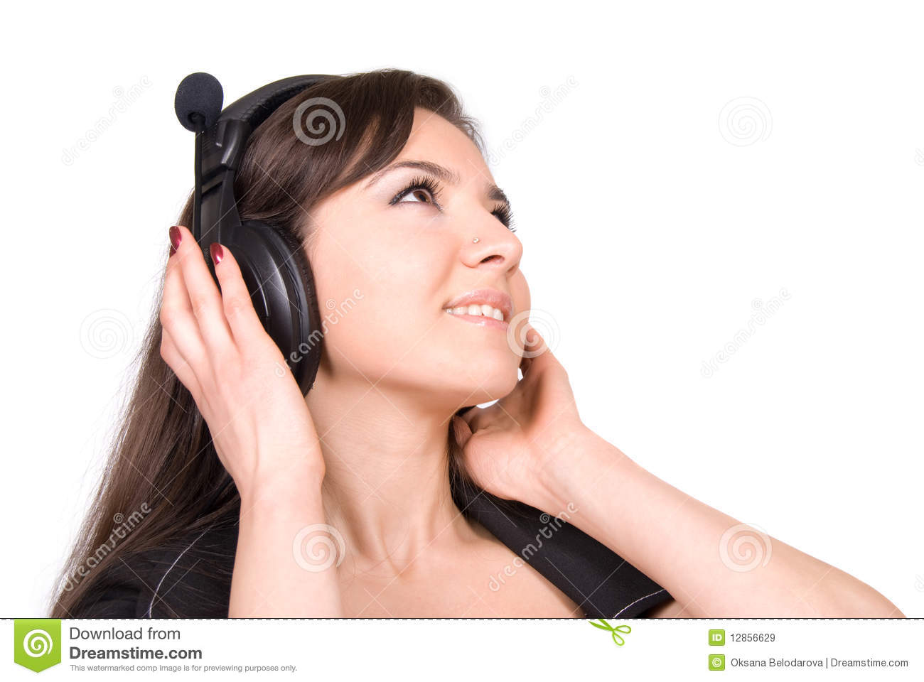 Beautiful Headphones Beautiful Woman With Headphones Royalty Free Stock Images