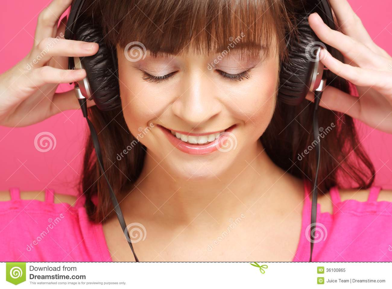 Beautiful Headphones Beautiful Woman With Headphones Royalty Free Stock Photo