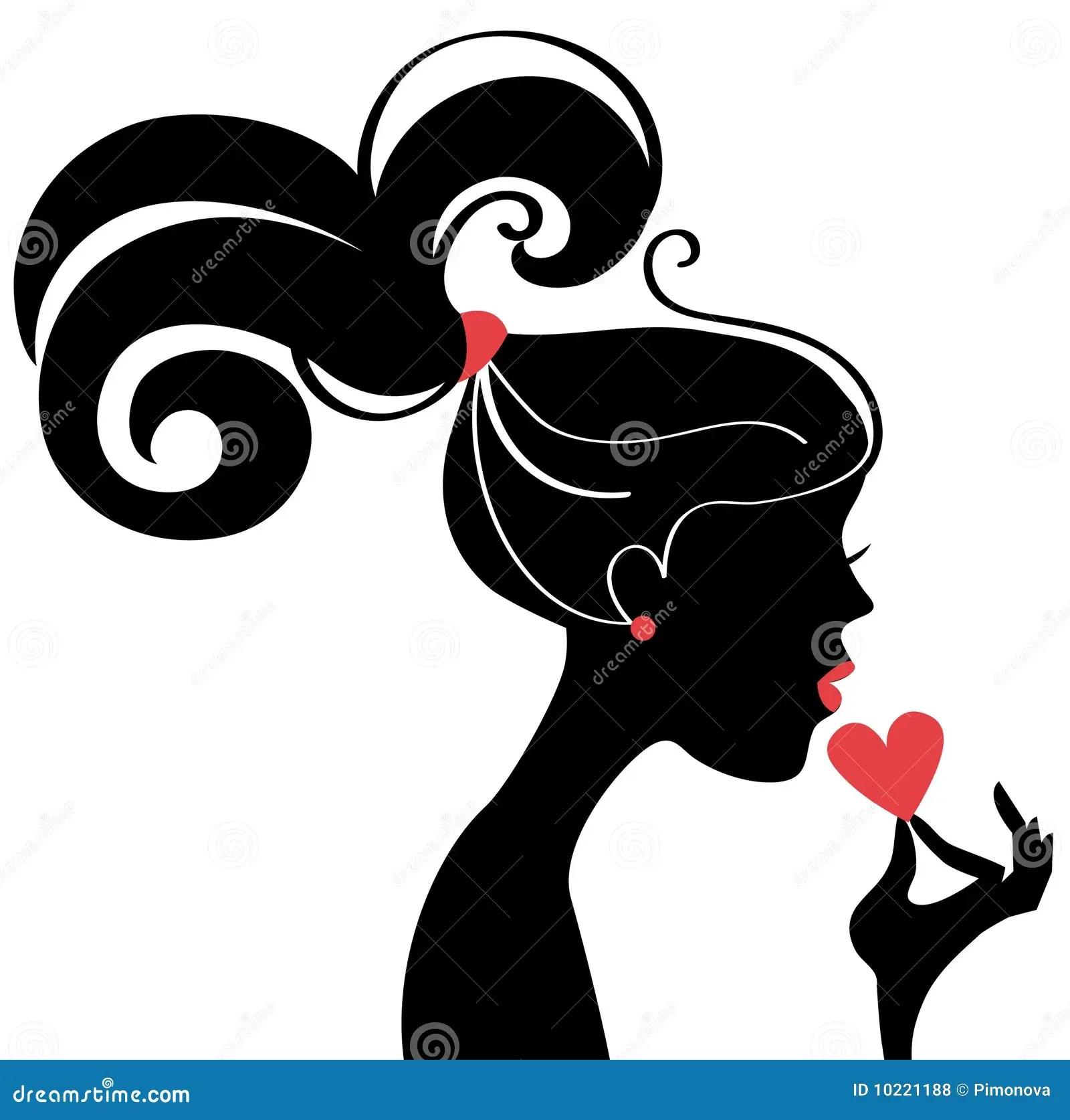Beautiful Girl Wallpaper Brunette Beautiful Woman Silhouette Profile Stock Vector