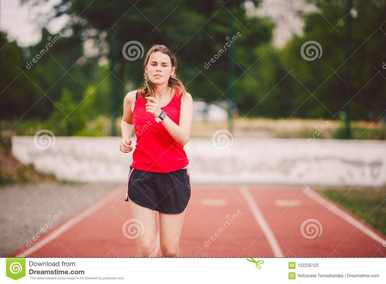 Jogging Run Time Beautiful Young Athlete Caucasian Woman With Big Breasts In