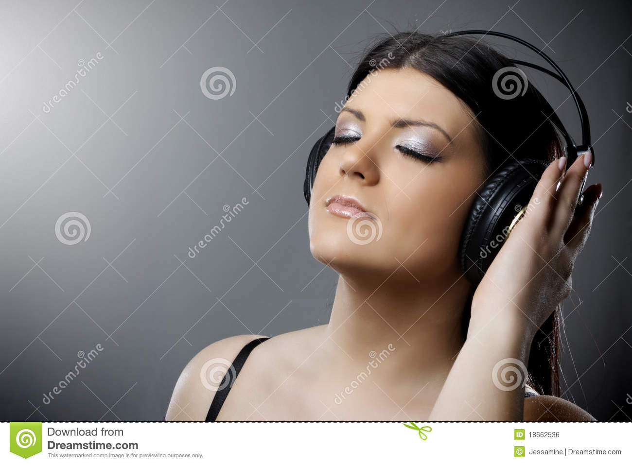 Beautiful Headphones Beautiful Young Woman With Headphones Royalty Free Stock