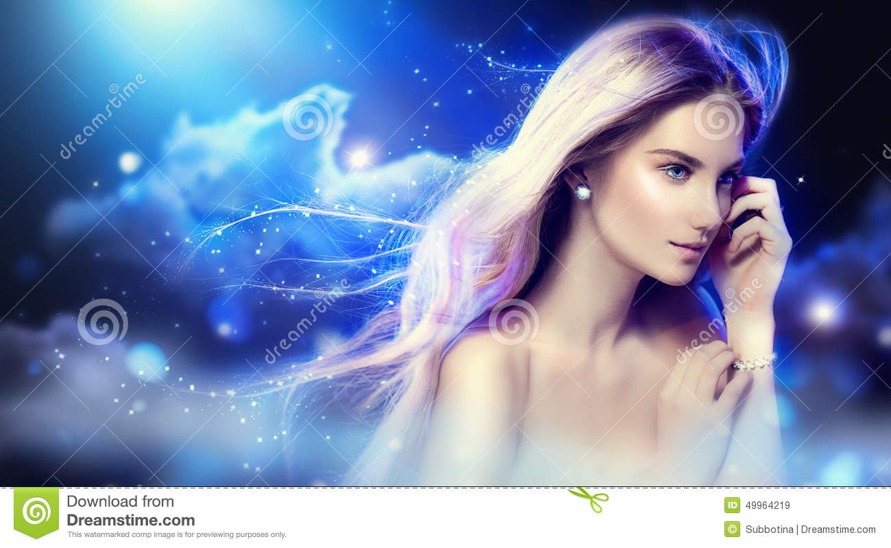 Cute Girl Face Desktop Wallpaper Beauty Fantasy Girl Over Night Sky Stock Photo Image