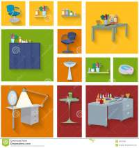 Beauty Spa Furniture Icon Set Flat Design Stock Vector ...