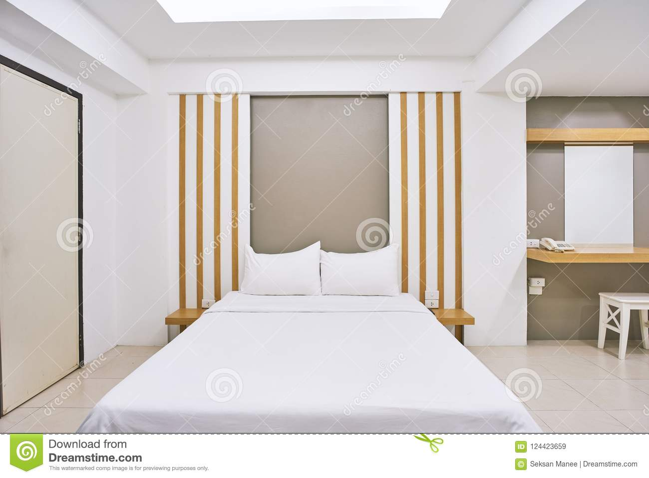 Decoration Chambre Hotel Bedroom Interior Decoration Mock Up For Hotel Apartment Stock