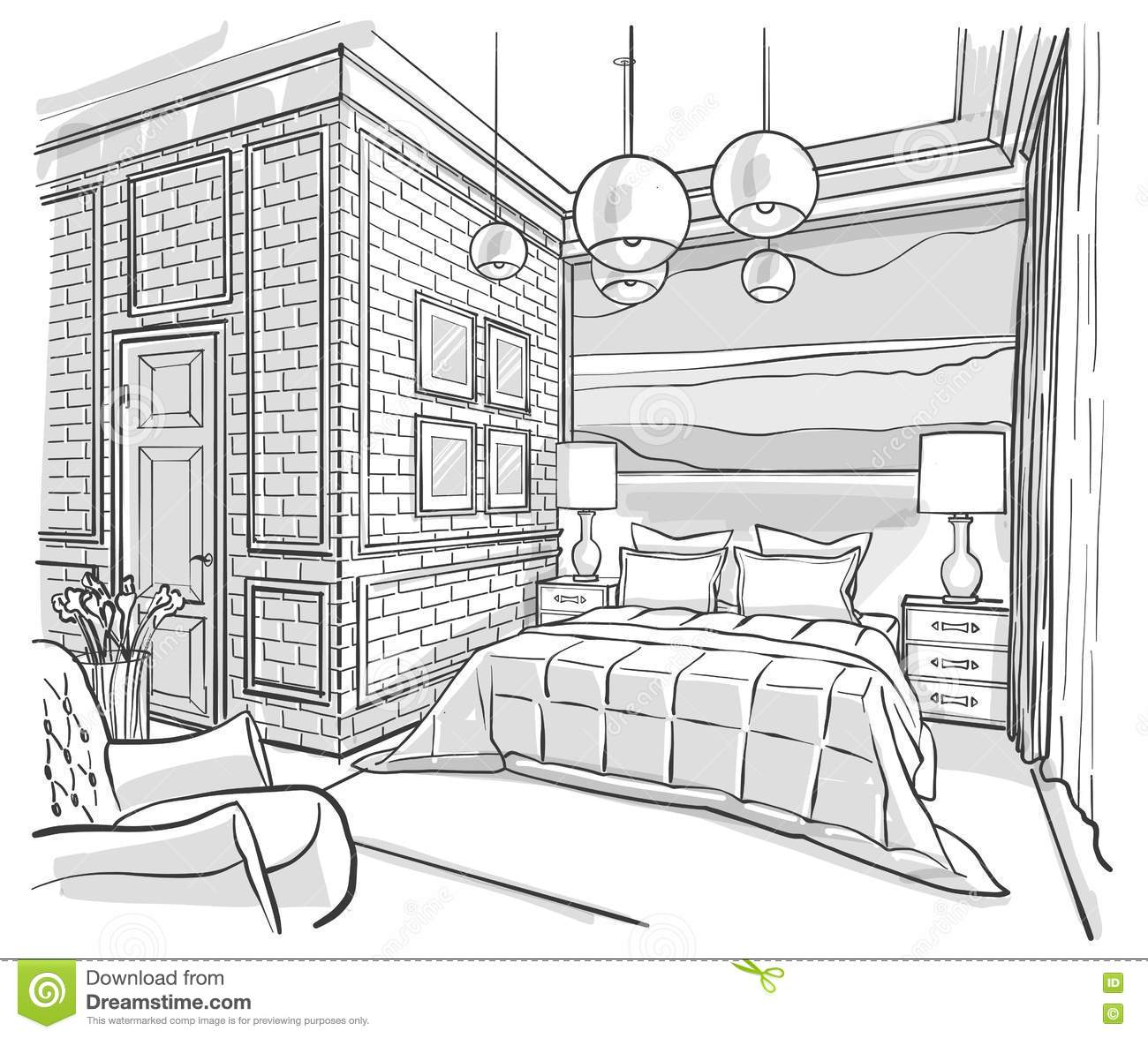 Kommode Gezeichnet Bedroom Interior Outline Vector Sketch Drawing Stock