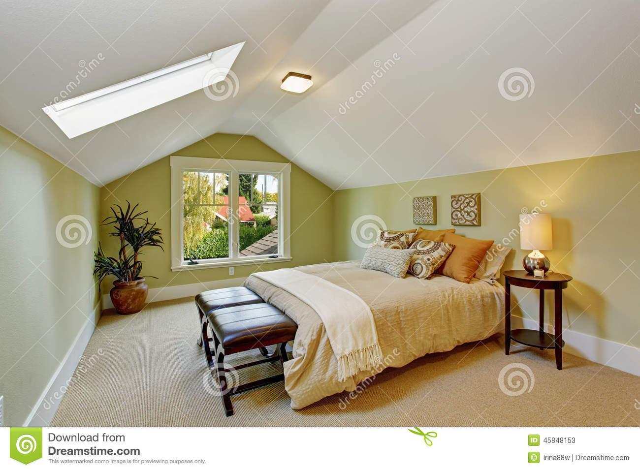 Bedroom No Ceiling Light Bedroom Interior With Vaulted Ceiling And Light Mint Walls