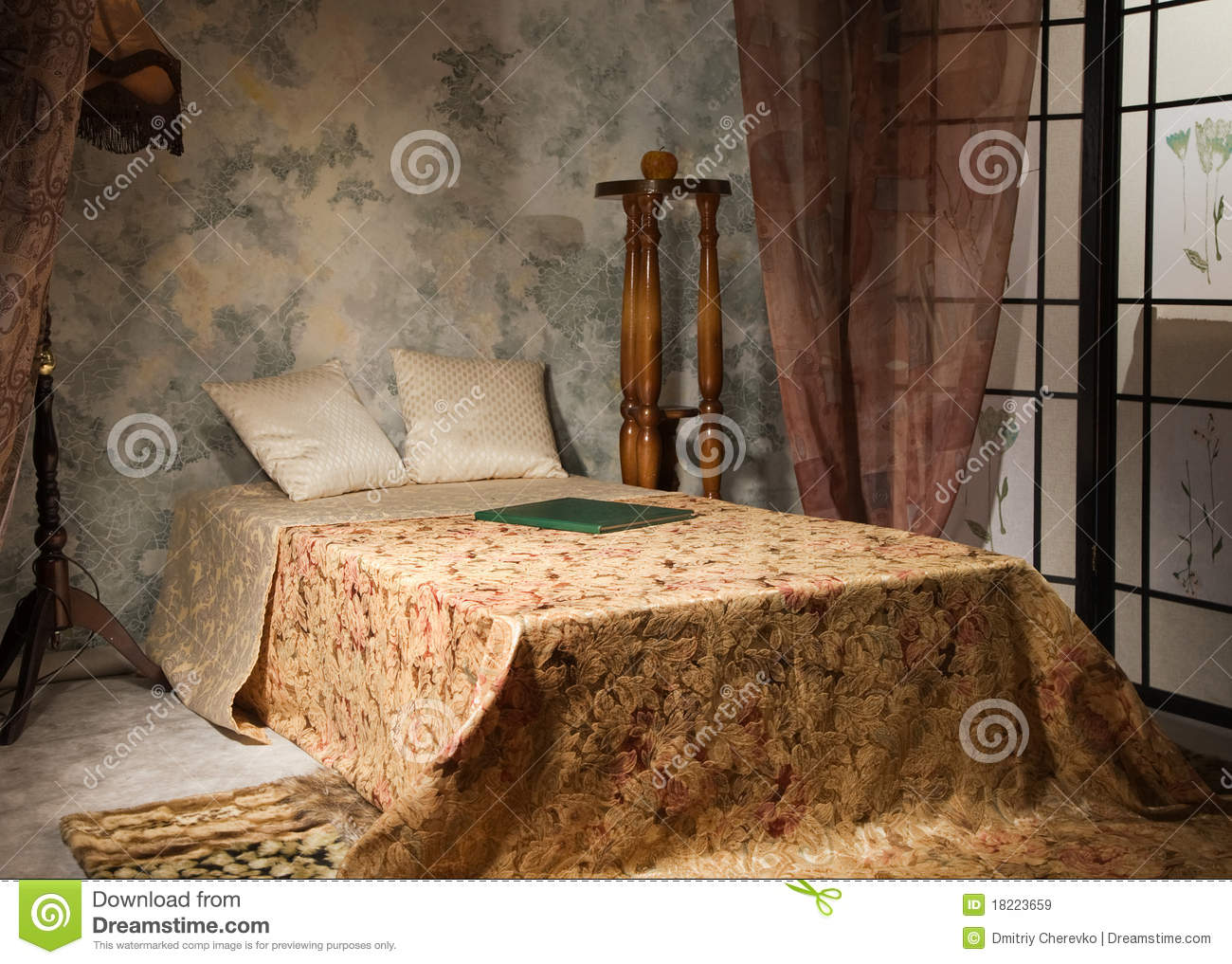 Bedroom interior in the vintage style royalty free stock