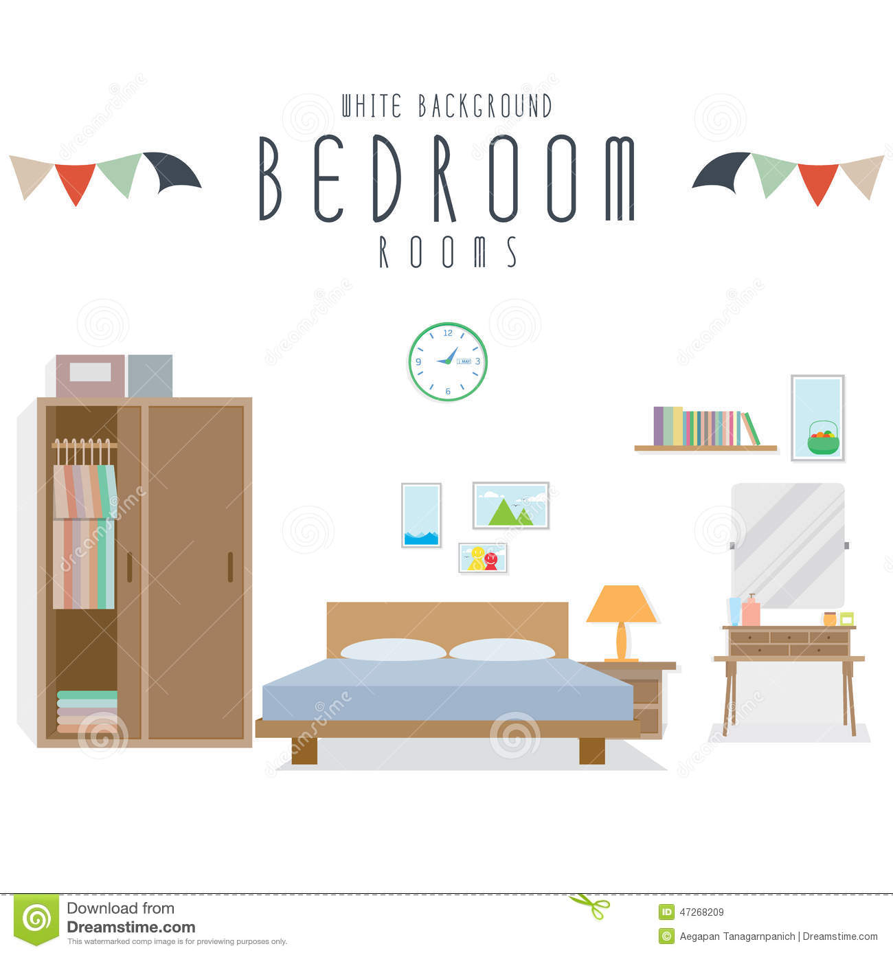 Bedroom White Background Bedroom White Background Stock Vector Image 47268209