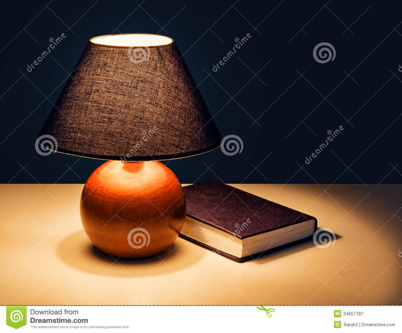 Night Reading Lamp Bedtime Reading Lamp With Book At Night Stock Image