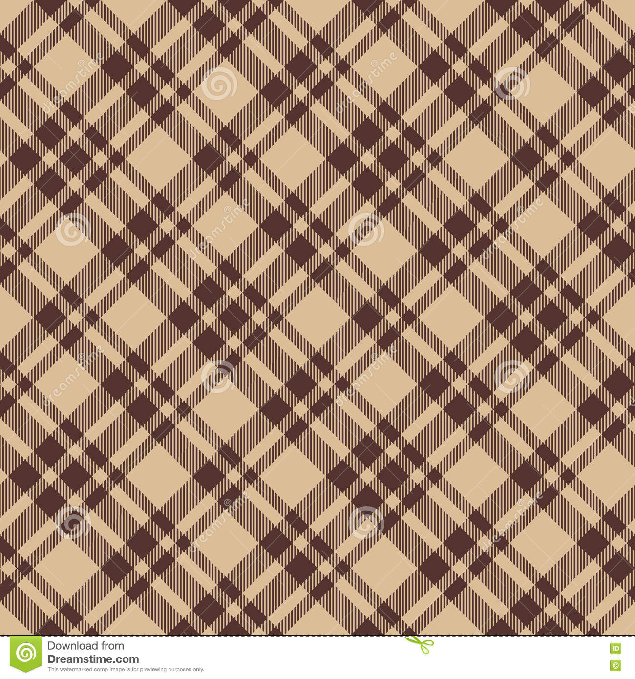Brown Seamless Fabric Textures Beige Brown Diagonal Check Plaid Seamless Fabric Texture Stock