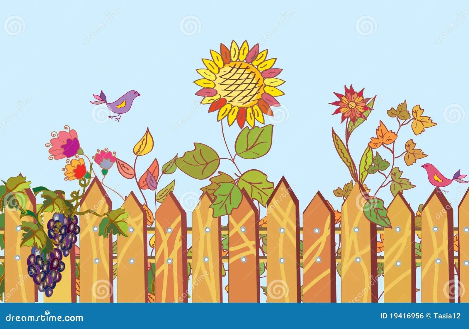 Fall Cartoon Wallpaper Beira Da Cerca E Dos Desenhos Animados Das Flores