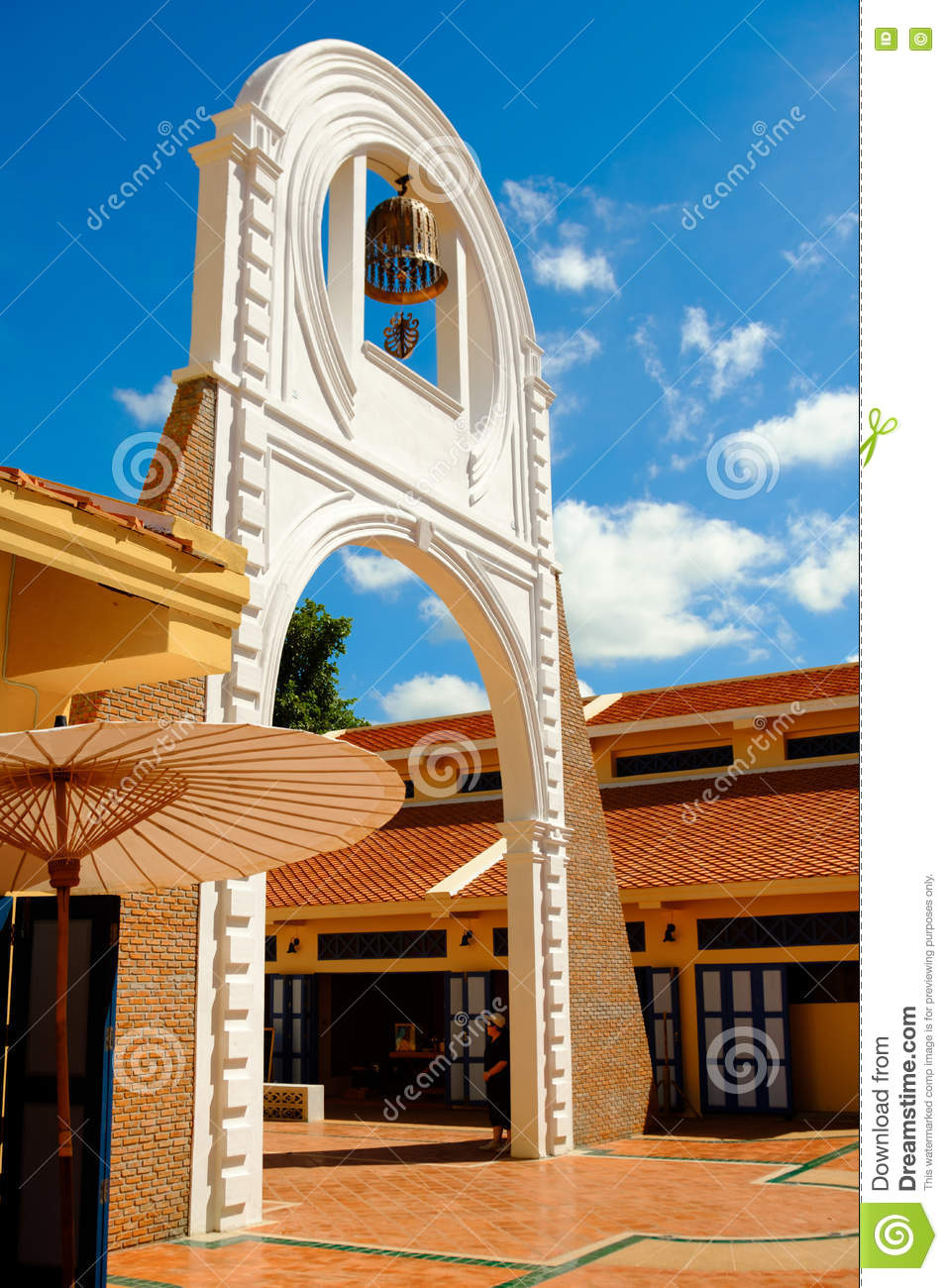 Simulation Facade Bell Tower And Yellow House With Blue Sky In Thailand Ancient