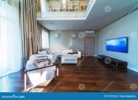 Big modern living room stock image. Image of comfortable ...