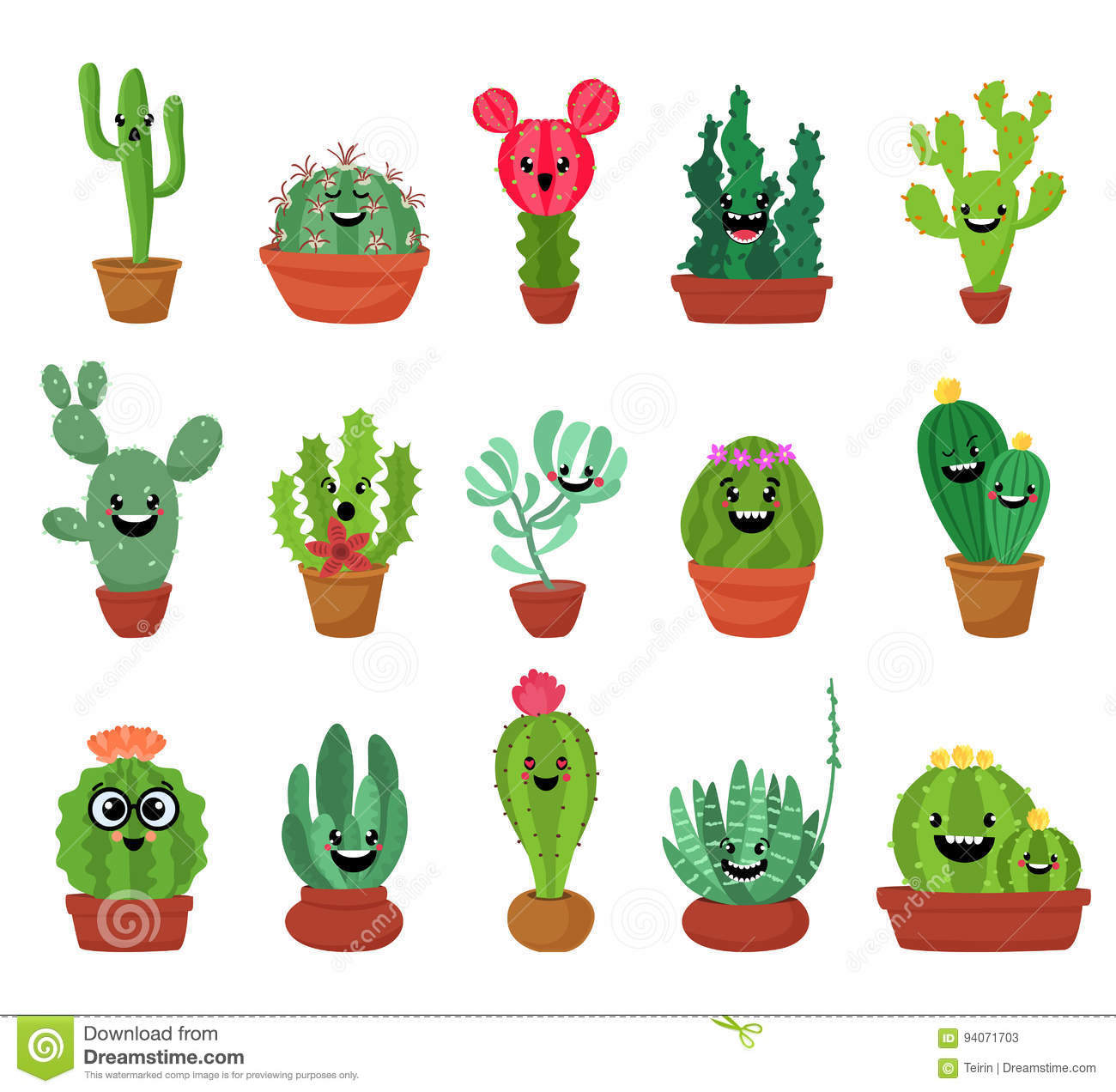 Cute Stickers For Facebook Big Set Of Cute Cartoon Cactus And Succulents With Funny Faces