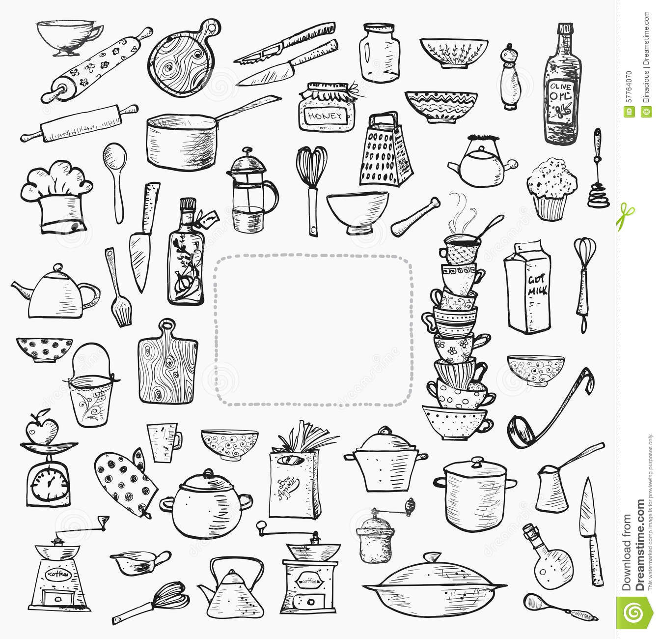 21 kitchen tools colourin hand drawn doodle cooking set kitchen