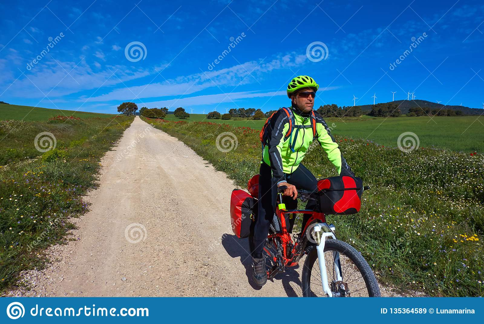 Camino Frances On Bike Biker By Camino De Santiago In Bicycle Stock Image Image Of
