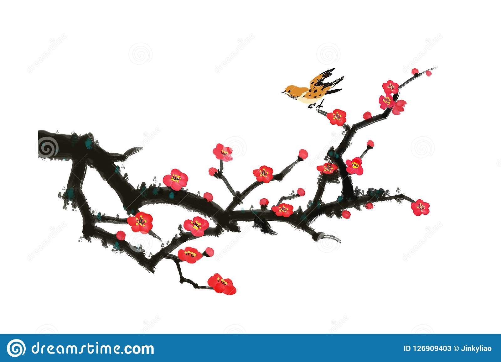 Art Decoration Conception Bird And Plum Blossoms Chinese Painting Stock Illustration
