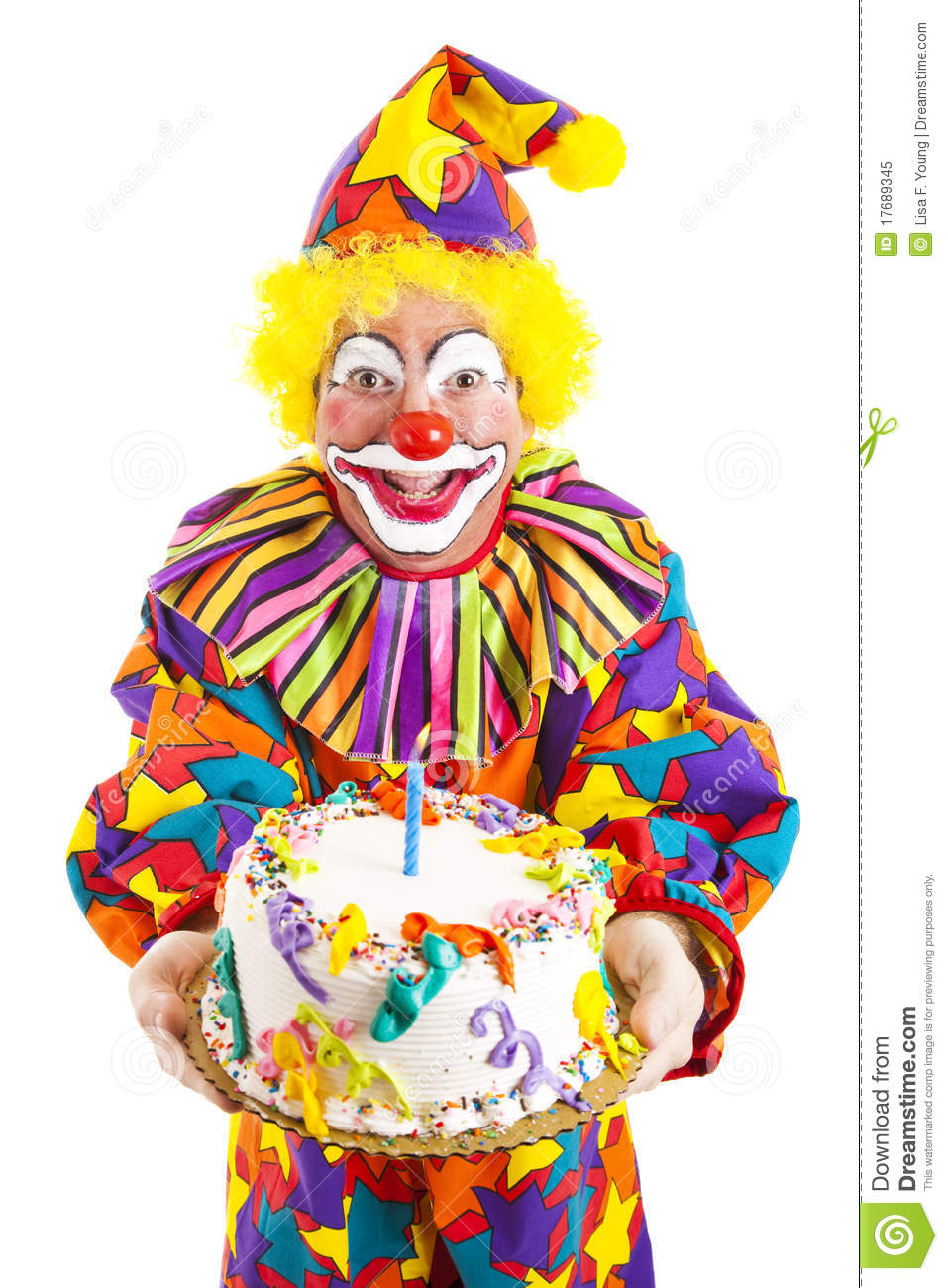 Birthday Candle Hat Birthday Clown With Cake Stock Image. Image Of Candle