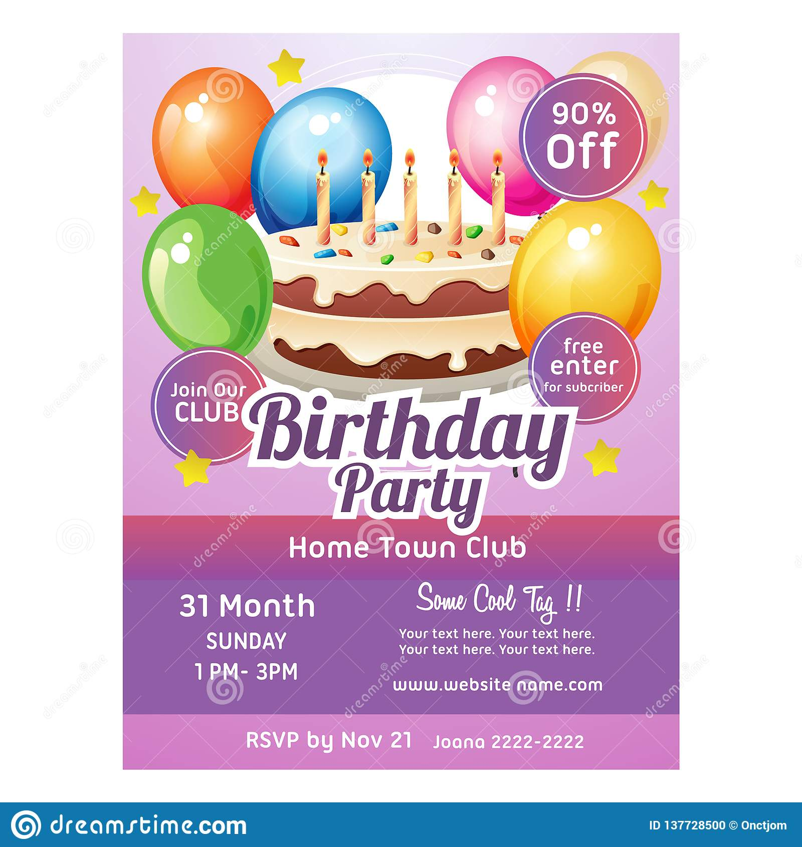 Birthday Poster Template Big Cake And Balloon Decoration Stock