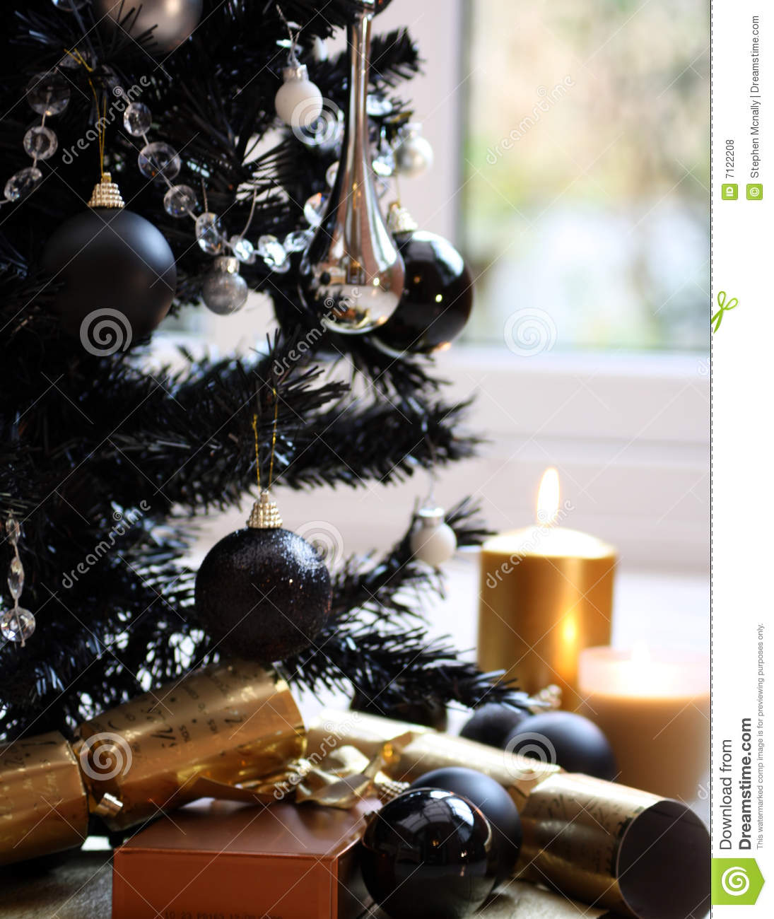 Christmas Candle Black And White Black Christmas Tree Gold Candle Royalty Free Stock Photos
