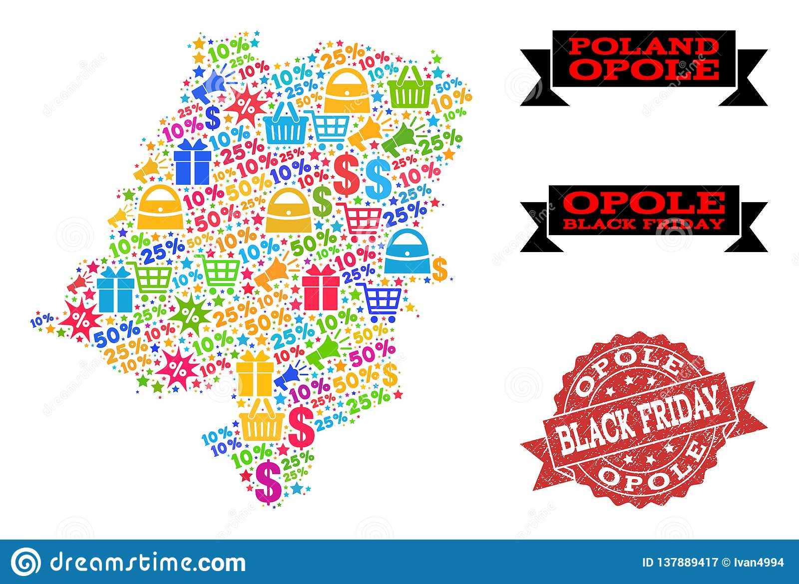Ah Black Friday Black Friday Composition Of Mosaic Map Of Opole Province And