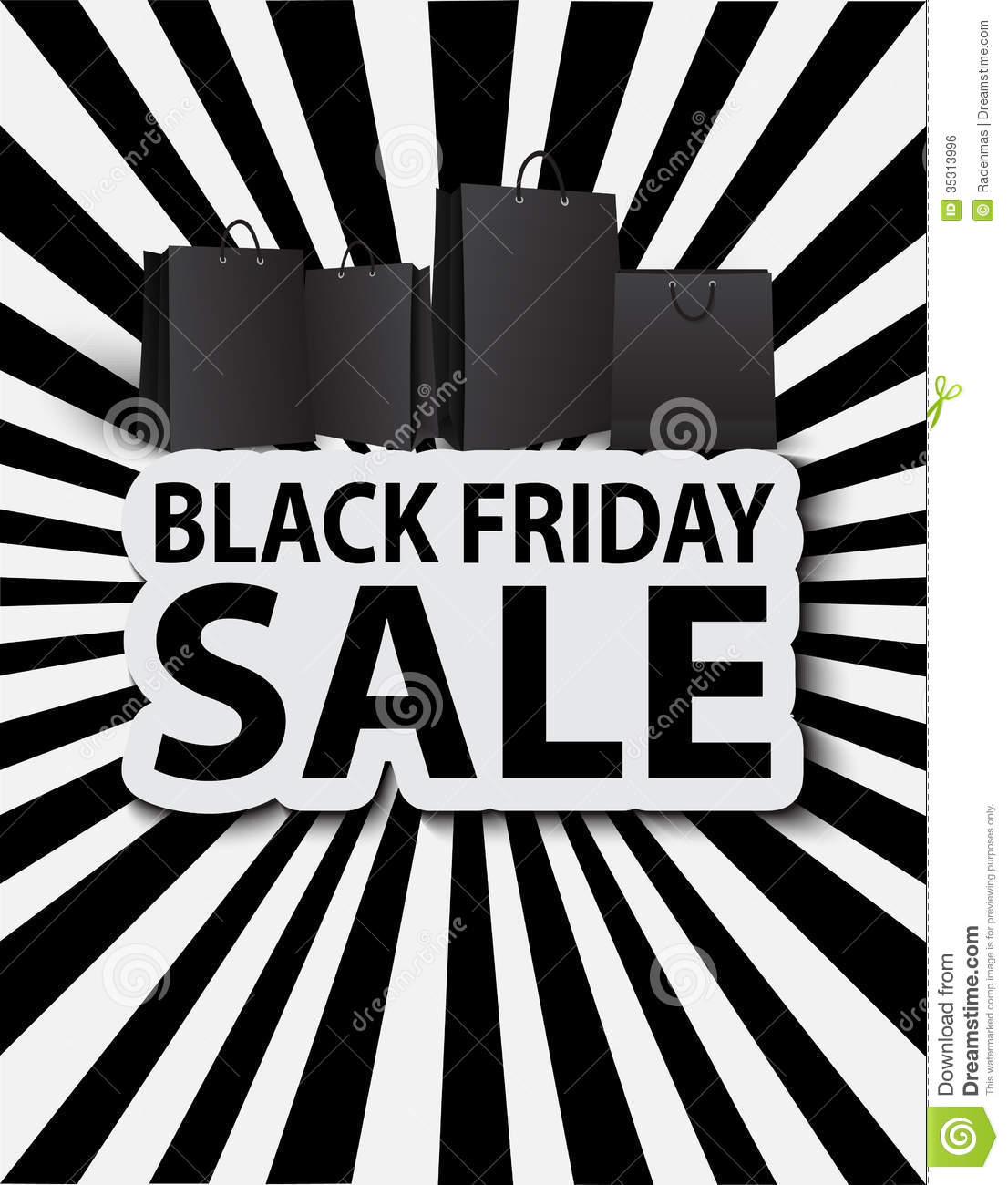 Black Sale Black Friday Sale With Shopping Bags Poster Sale Stock