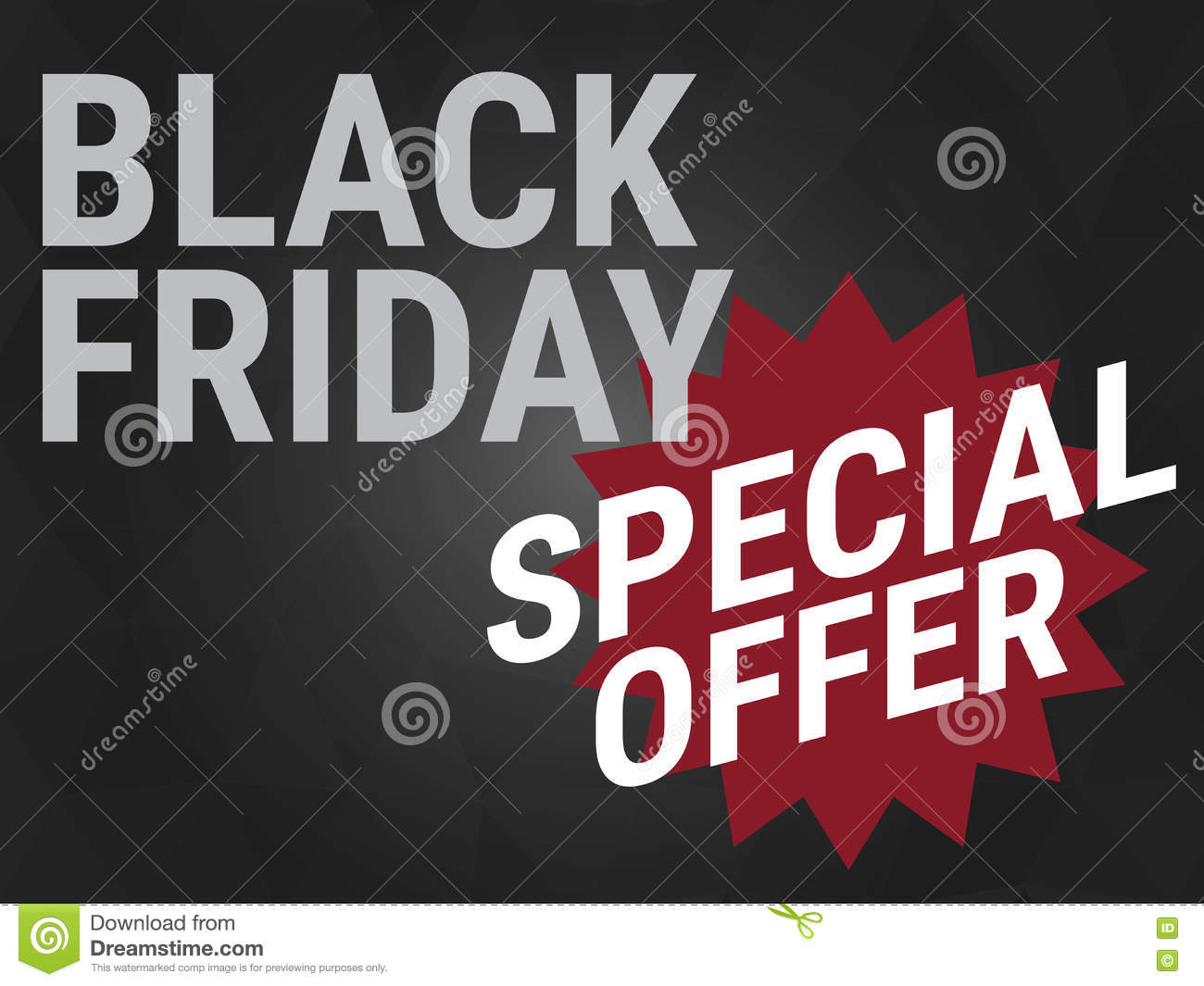 Black Friday Specials Black Friday Special Offer Wording On Black Background Stock