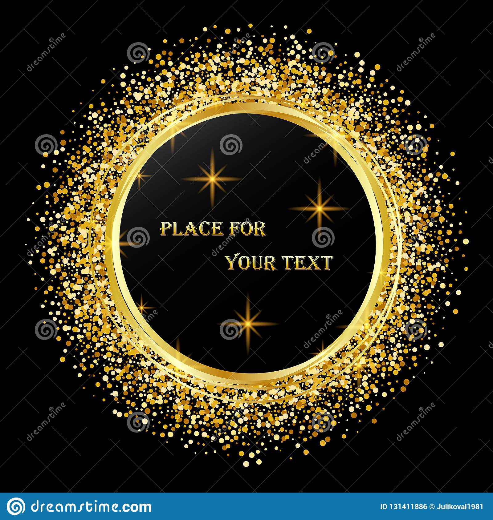 Black And Gold Background With Circle Frame And Space For Text Vector Glitter Decoration Golden Dust Stock Vector Illustration Of Golden Invitation 131411886