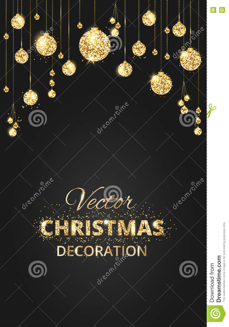 Black And Gold Christmas Background With Glitter Decoration Stock Vector Illustration Of Glow Merry 81896695