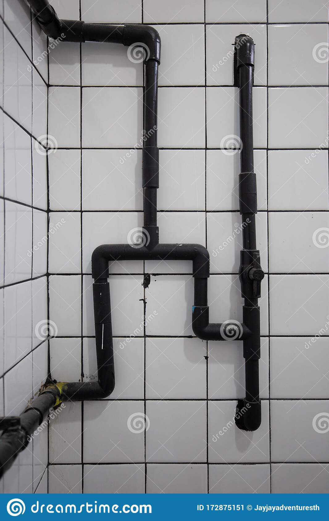 Black Pipe In The Shower Room Bathroom The Wall Decorative With White Glossy Ceramic Tiles Stock Image Image Of Pipeline Architecture 172875151