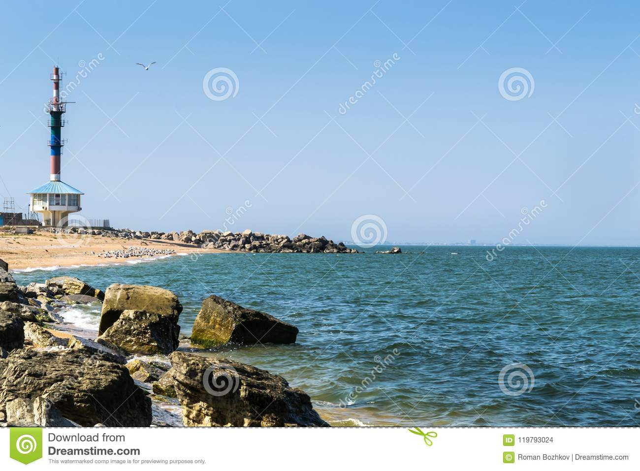 Lighthouse Background Black Sea Coast With A Lighthouse In The Background Stock Photo