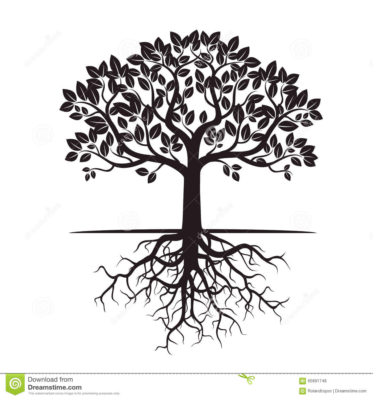Art Design Bilder Black Tree And Roots Vector Illustration Stock