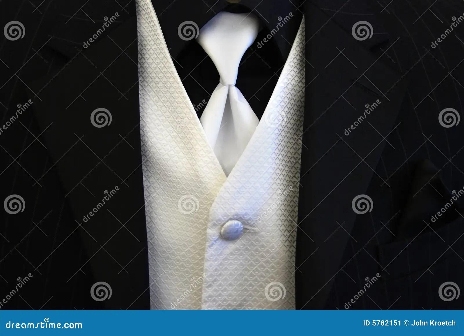 Black Tuxedo White Tie And Vest Stock Image