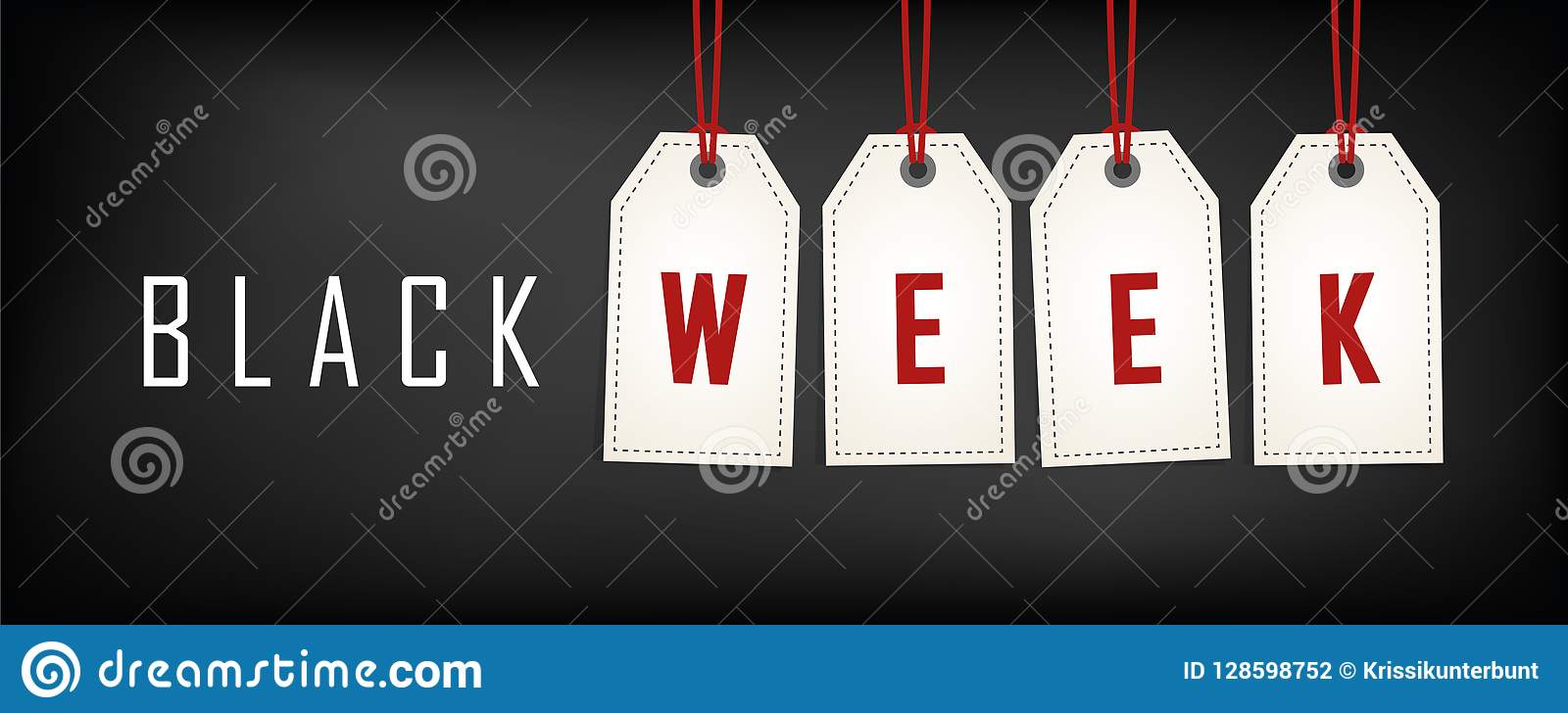 Black Week Sale Black Week Sale White Tags Advertising On Black Background Stock
